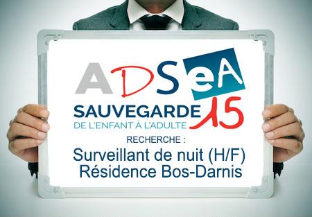 L'ADSEA recrute un(e) Surveillant(e) de nuit – Résidence Bos-Darnis